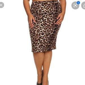 Philippe Adec Cheetah Print Velvet Pencil Skirt